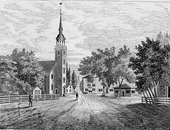 The Fourth Meeting House, South view, looking into the center of Harvard Square from Cambridge Common. The old meeting houses served many purposes socially, governmentally and religiously.