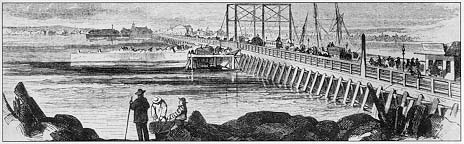 The much longer West Boston Bridge built in 1793 to connect Boston's West End to Cambridgeport