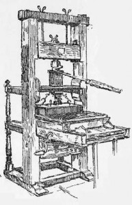 Stephen Daye Press. First printing press in America, brought to Cambridge from England in 1638