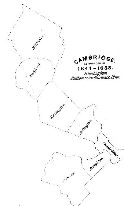 Cambridge as bounded in 1644-1655