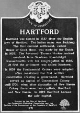 Historic Marker (1971), located at main entrance to the Ancient Burying Ground in Hartford