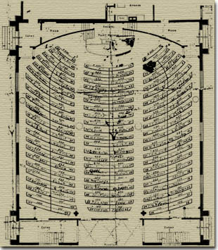 Seating plan of the Meeting House in the 1870's.