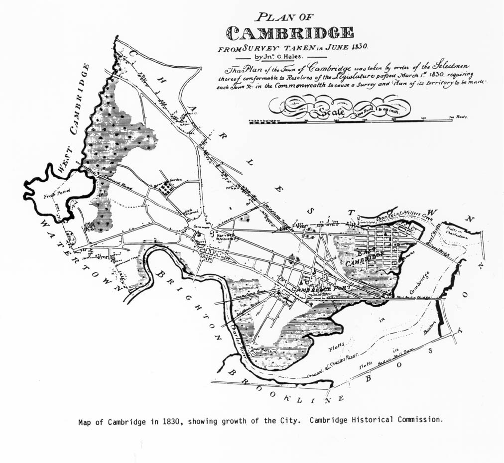 Map of Cambridge in 1830, showing growth of the City. Cambridge Historical Commission.