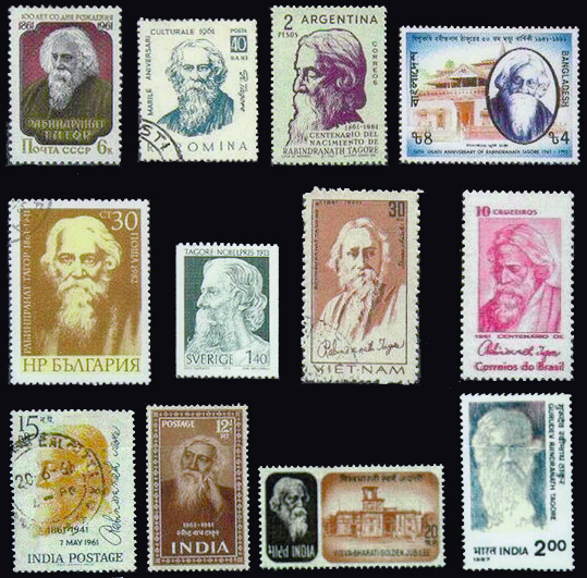 Rabindranath Tagore postage stamps (3)