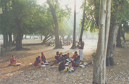 Class outdoors at Visva Bharati, Santiniketan