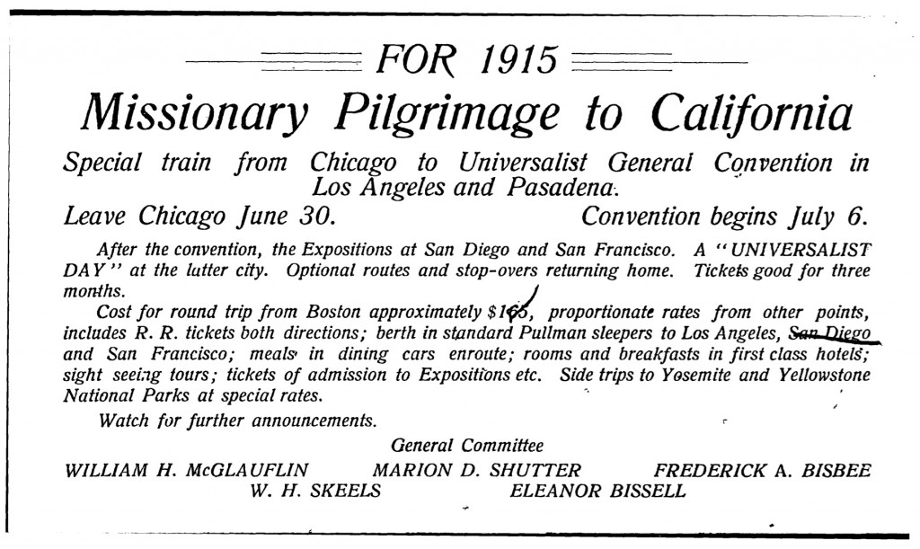 Advertisement for 1915 Missionary Pilgrimage