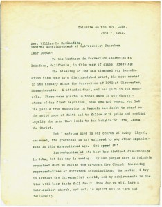 Page 1 of letter from Jacob Straub of Cuba to the Universalist General Convention. Courtesy of Andover-Harvard Theological Library.